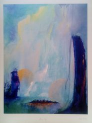 "Anna Gade ""Blue Sky""  Papir: William Turner 190g,  storrelse: 29,7cm X 40cm.  Pris: 250kr."