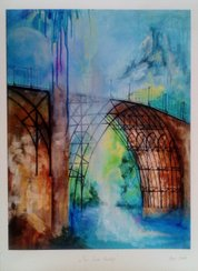 "Anna Gade  ""The Iron Bridge""  Papir: William Turner 190g,  storrelse: 29,7cm X 40cm.  Pris: 250kr."