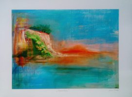 "Anna Gade ""Somewhere""  Papir: William Turner 190g,  storrelse: 40cm X 29,7cm.  Pris: 250kr."