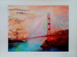 "Anna Gade ""Golden Gate""  Papir: William Turner 190g,  storrelse: 40cm X 29,7cm.  Pris: 250kr."